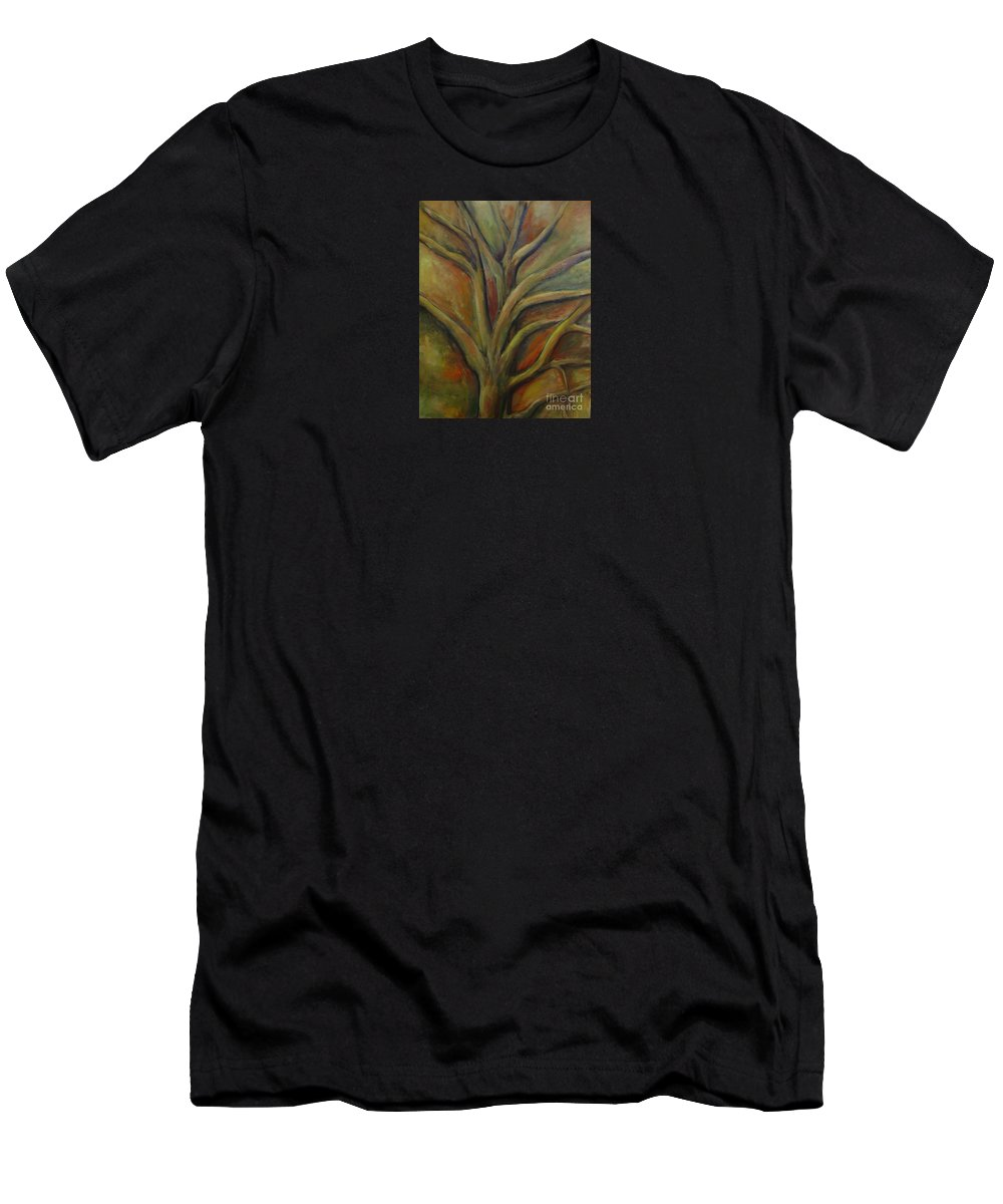 Tree Abstract Painting Expressionist Original Leila Atkinson Men's T-Shirt (Athletic Fit) featuring the painting Rapt by Leila Atkinson