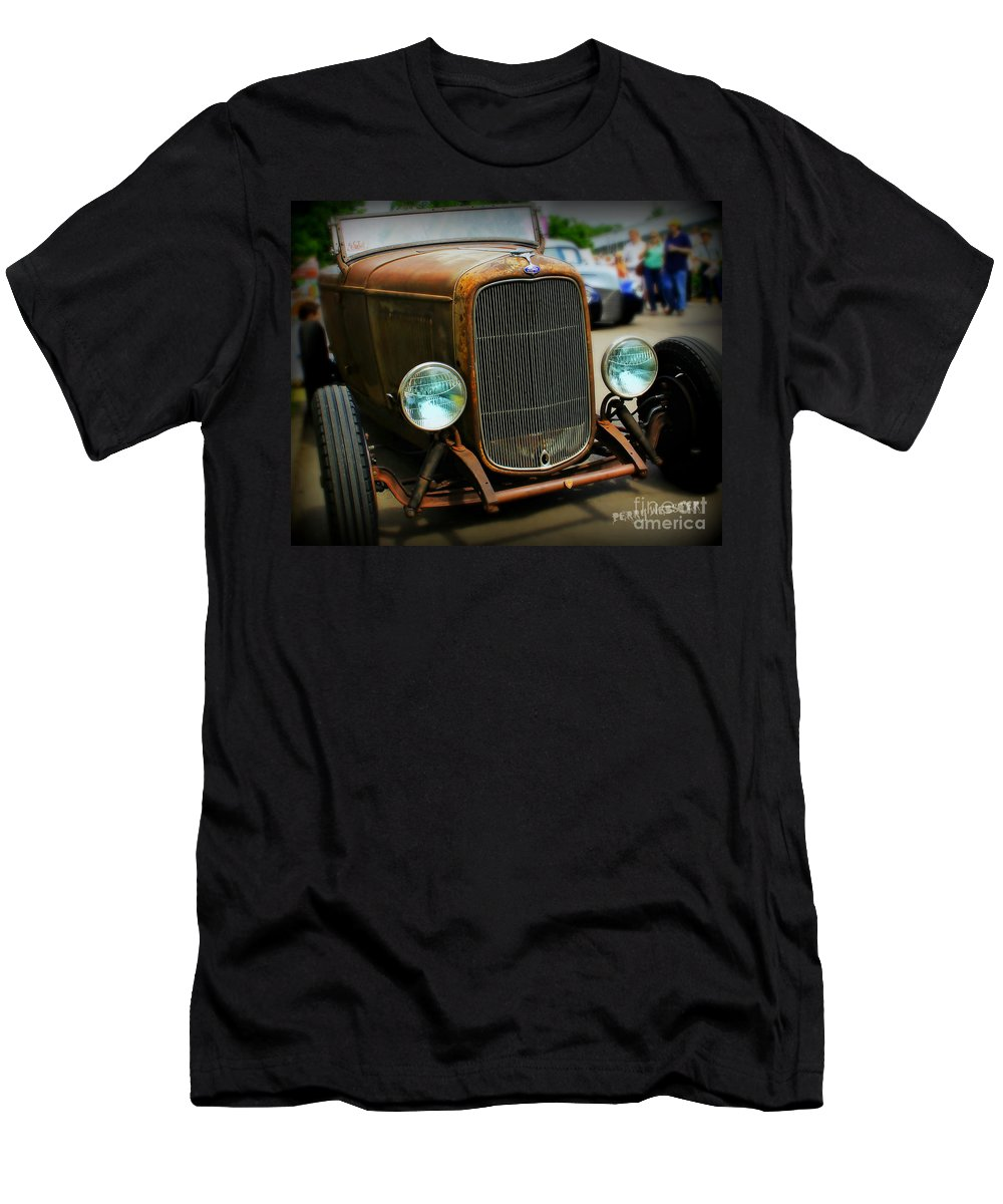Rat Rod Men's T-Shirt (Athletic Fit) featuring the photograph Rat Rod Roadster by Perry Webster