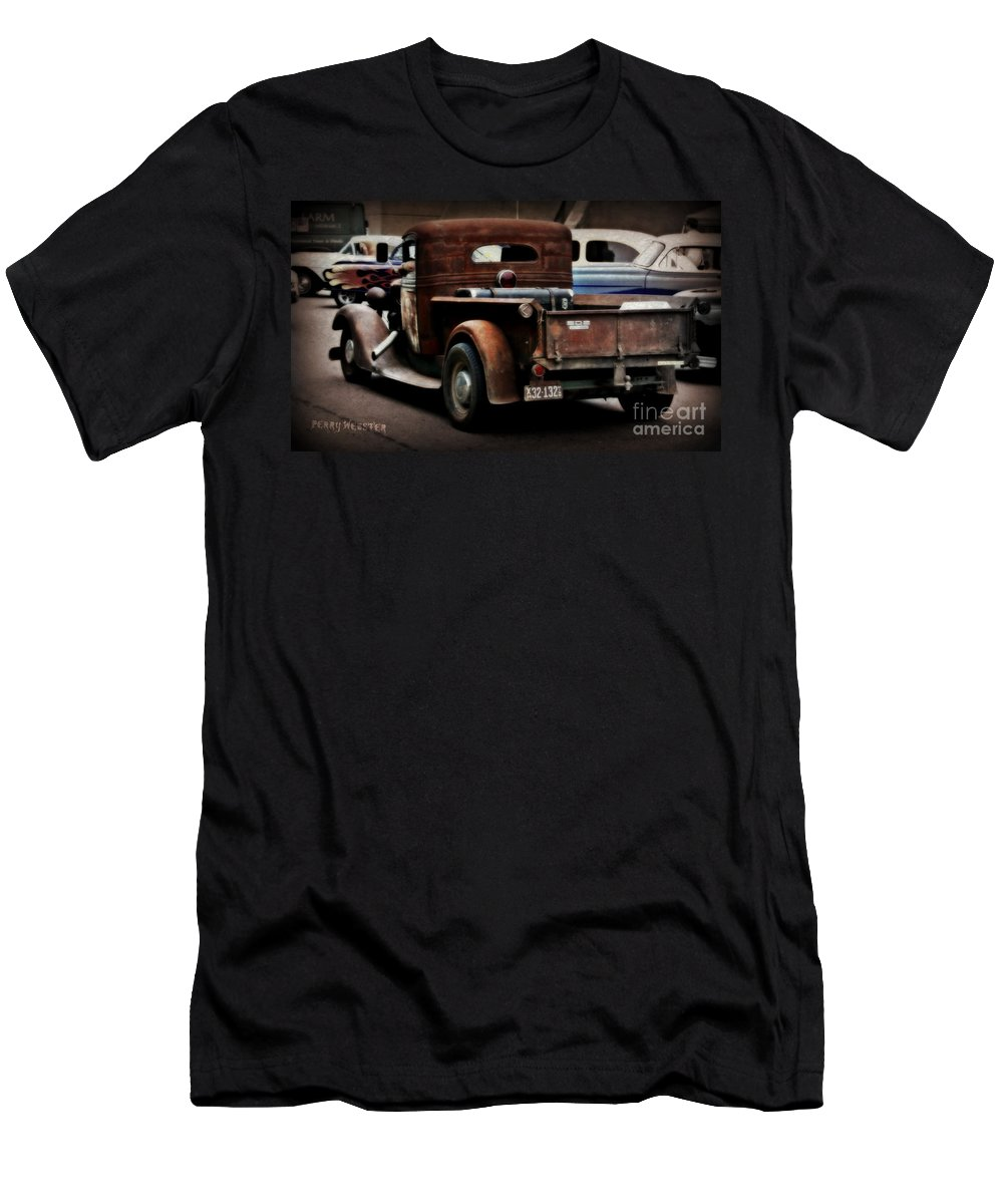 Rat Rod Men's T-Shirt (Athletic Fit) featuring the photograph Rat Rod Work Truck by Perry Webster