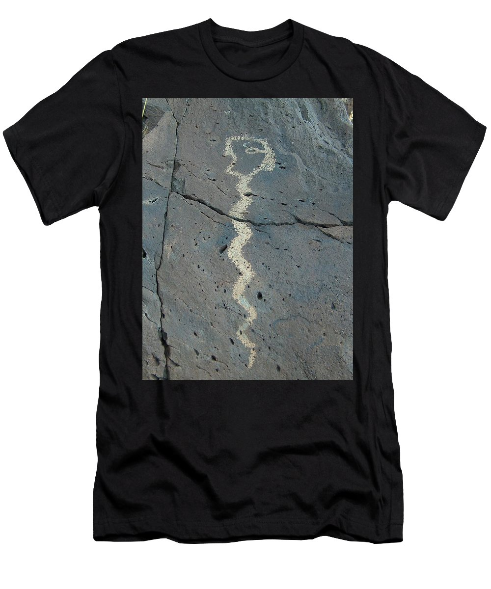 Rattlesnake Men's T-Shirt (Athletic Fit) featuring the photograph Rattlesnake Petroglyph 2 by Tim McCarthy