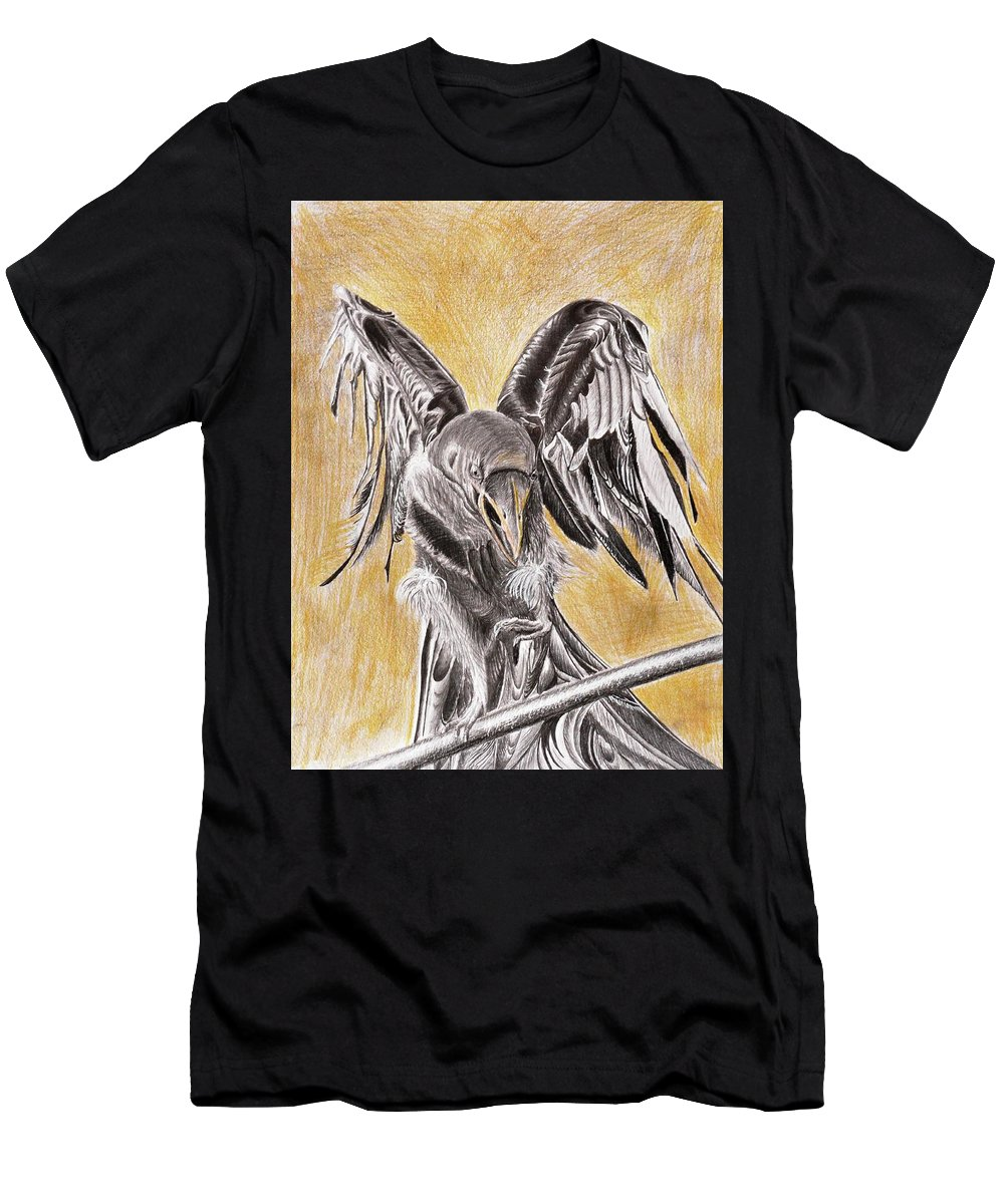 Raven Men's T-Shirt (Athletic Fit) featuring the drawing Raven by Medea Ioseliani