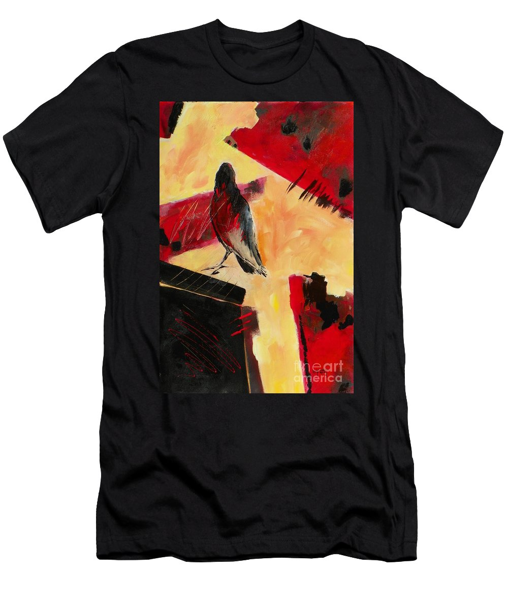 Abstract Expressionism Men's T-Shirt (Athletic Fit) featuring the painting Raven Morgan 007 by Donna Frost