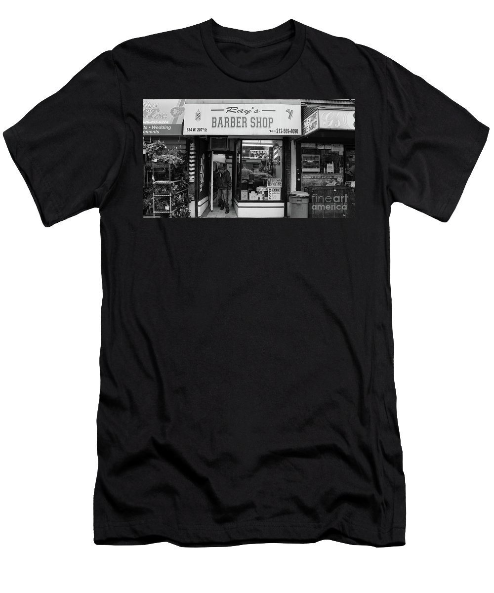 Ray's Men's T-Shirt (Athletic Fit) featuring the photograph Ray's Barbershop by Cole Thompson