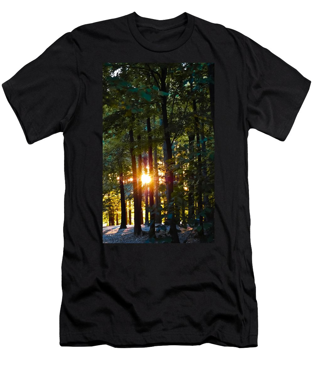 Sun Men's T-Shirt (Athletic Fit) featuring the digital art Rays Of Dawn by DigiArt Diaries by Vicky B Fuller