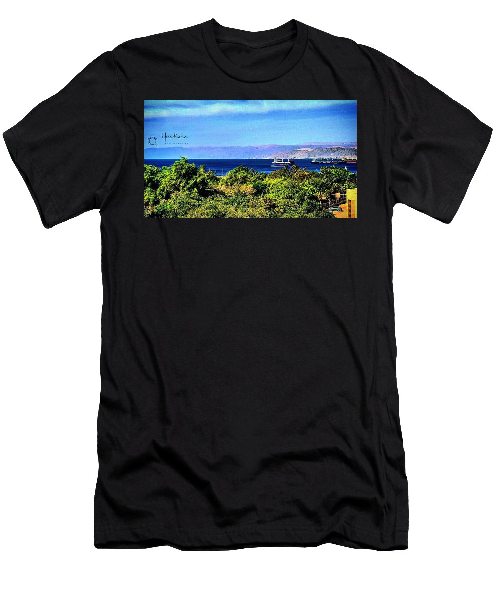Aqaba Men's T-Shirt (Athletic Fit) featuring the photograph Rea Sea Aqaba by Yara Thaher