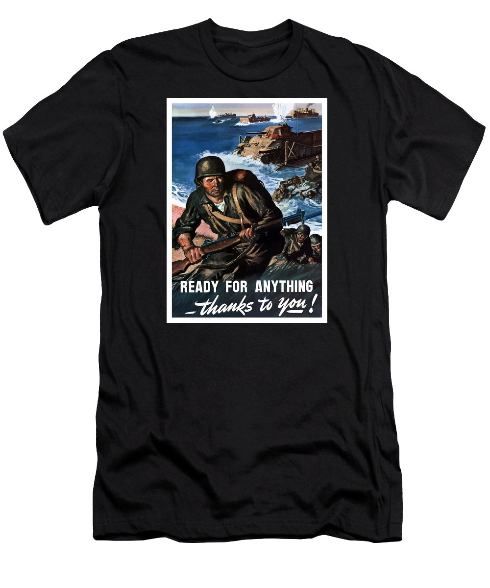 Soldiers Men's T-Shirt (Athletic Fit) featuring the painting Ready For Anything - Thanks To You by War Is Hell Store