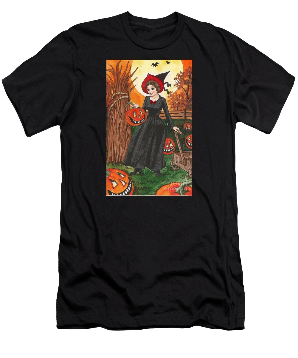 Print Men's T-Shirt (Athletic Fit) featuring the painting Ready For Halloween by Margaryta Yermolayeva
