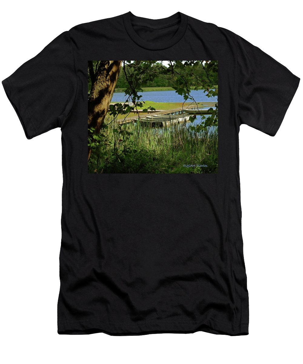 Boats Men's T-Shirt (Athletic Fit) featuring the digital art Ready To Row With No One To Go by DigiArt Diaries by Vicky B Fuller