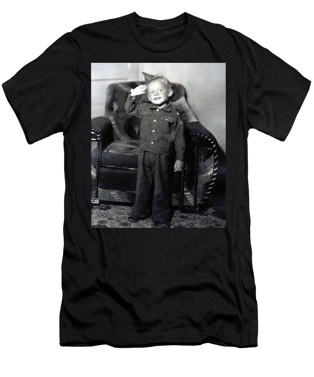 Old Photo Black And White Classic Saskatchewan Pioneers History Child Boy Army Service Men's T-Shirt (Athletic Fit) featuring the photograph Ready To Serve by Andrea Lawrence