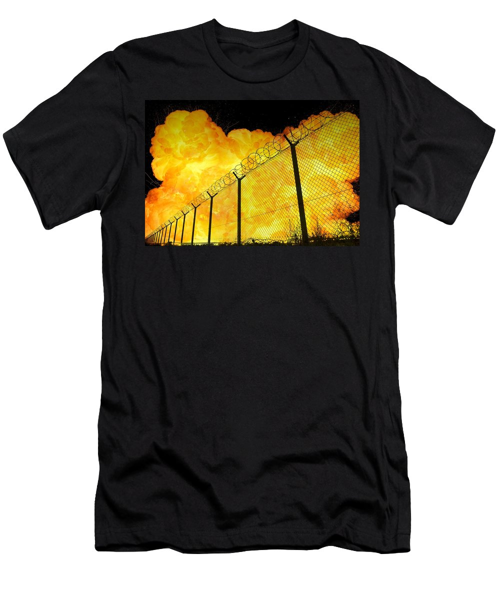 Prison Men's T-Shirt (Athletic Fit) featuring the photograph Realistic Fiery Explosion Behind Restricted Area Barbed Wire Fence by Lukasz Szczepanski
