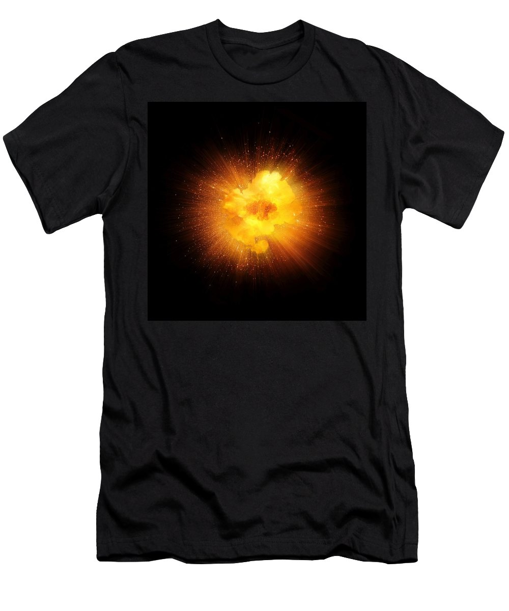 Fire Men's T-Shirt (Athletic Fit) featuring the photograph Realistic Fiery Explosion, Orange Color With Sparks Isolated On Black Background by Lukasz Szczepanski