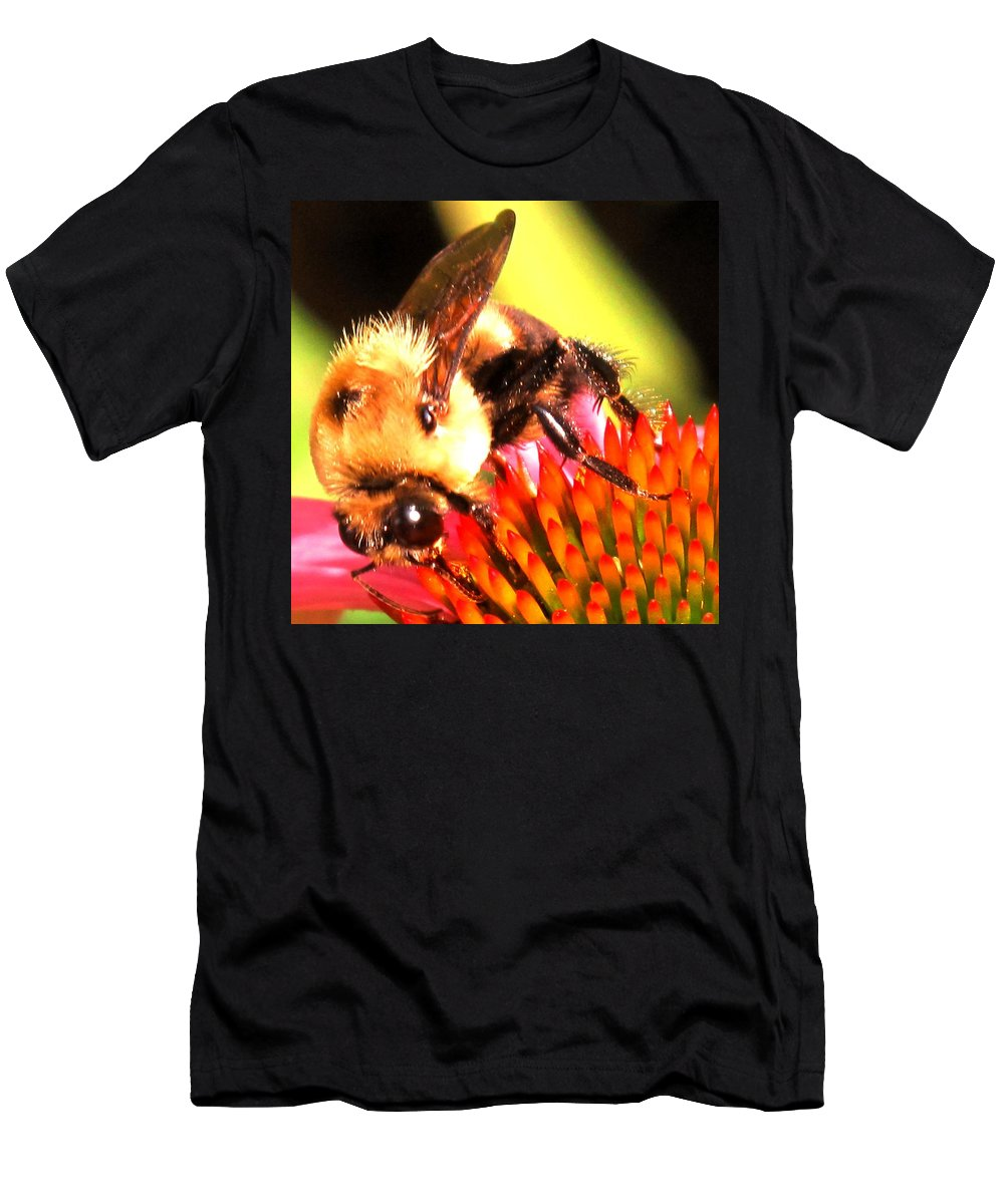 Bee Men's T-Shirt (Athletic Fit) featuring the photograph Really Getting Into It by Ian MacDonald