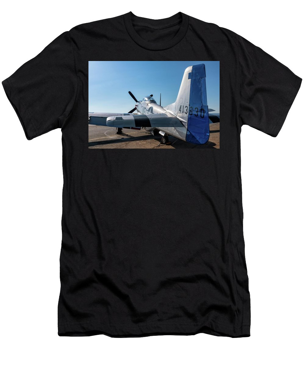 Tarmac Men's T-Shirt (Athletic Fit) featuring the photograph Rebel On The Ramp - 2017 Christopher Buff,www.aviationbuff.com by Chris Buff