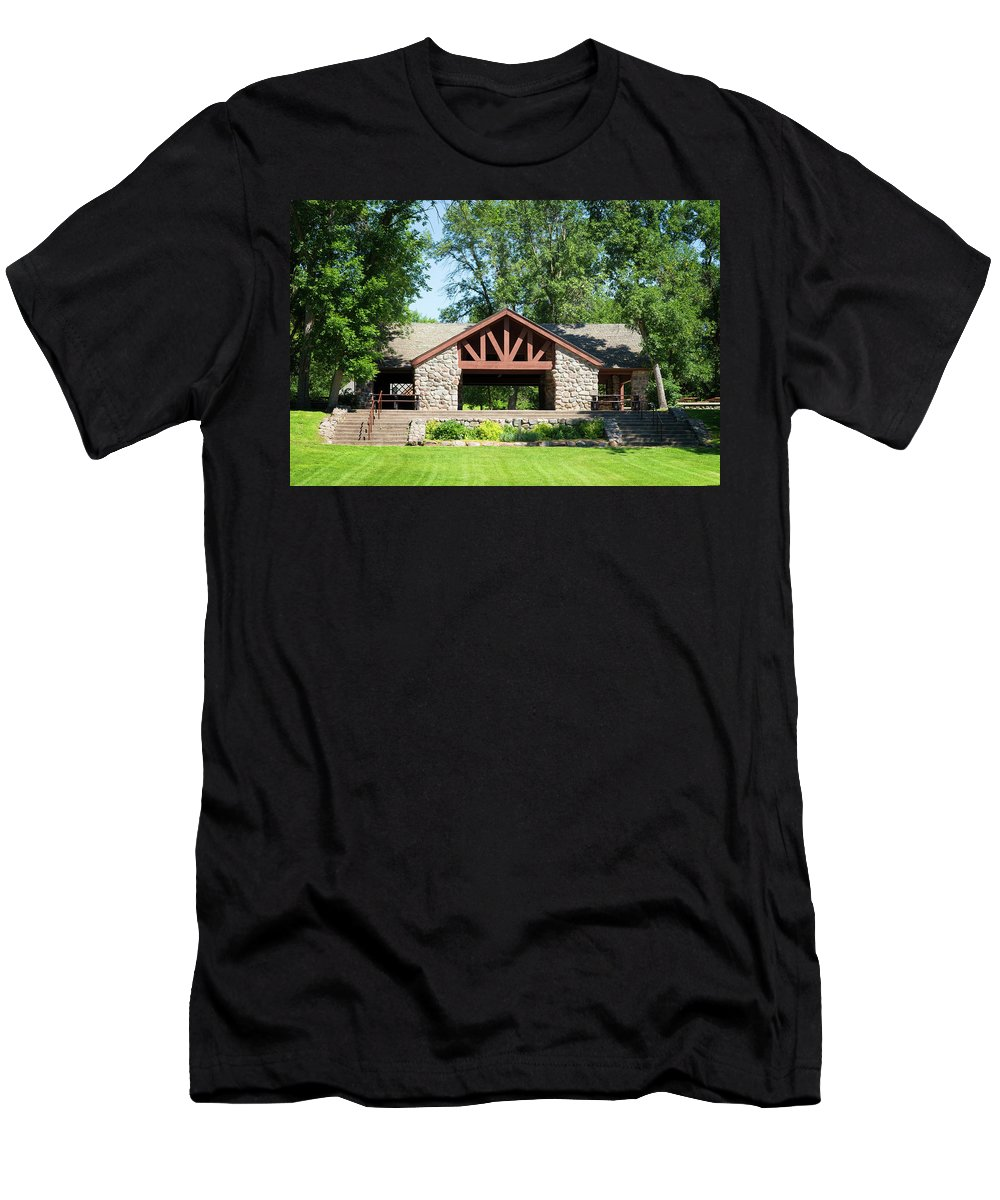 Built Structure Men's T-Shirt (Athletic Fit) featuring the photograph Recreation Shelter In Forest Park by Donald Erickson