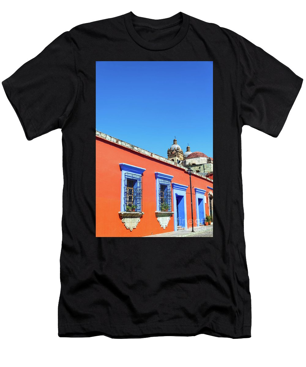 Oaxaca Men's T-Shirt (Athletic Fit) featuring the photograph Red And Blue Colonial Architecture by Jess Kraft