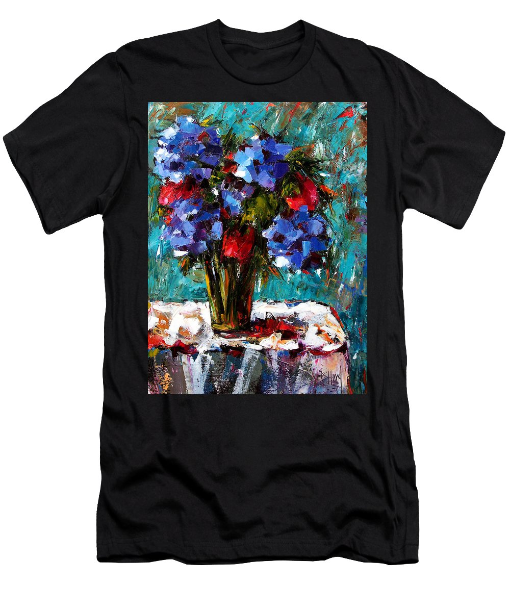 Men's T-Shirt (Athletic Fit) featuring the painting Red And Blue by Debra Hurd