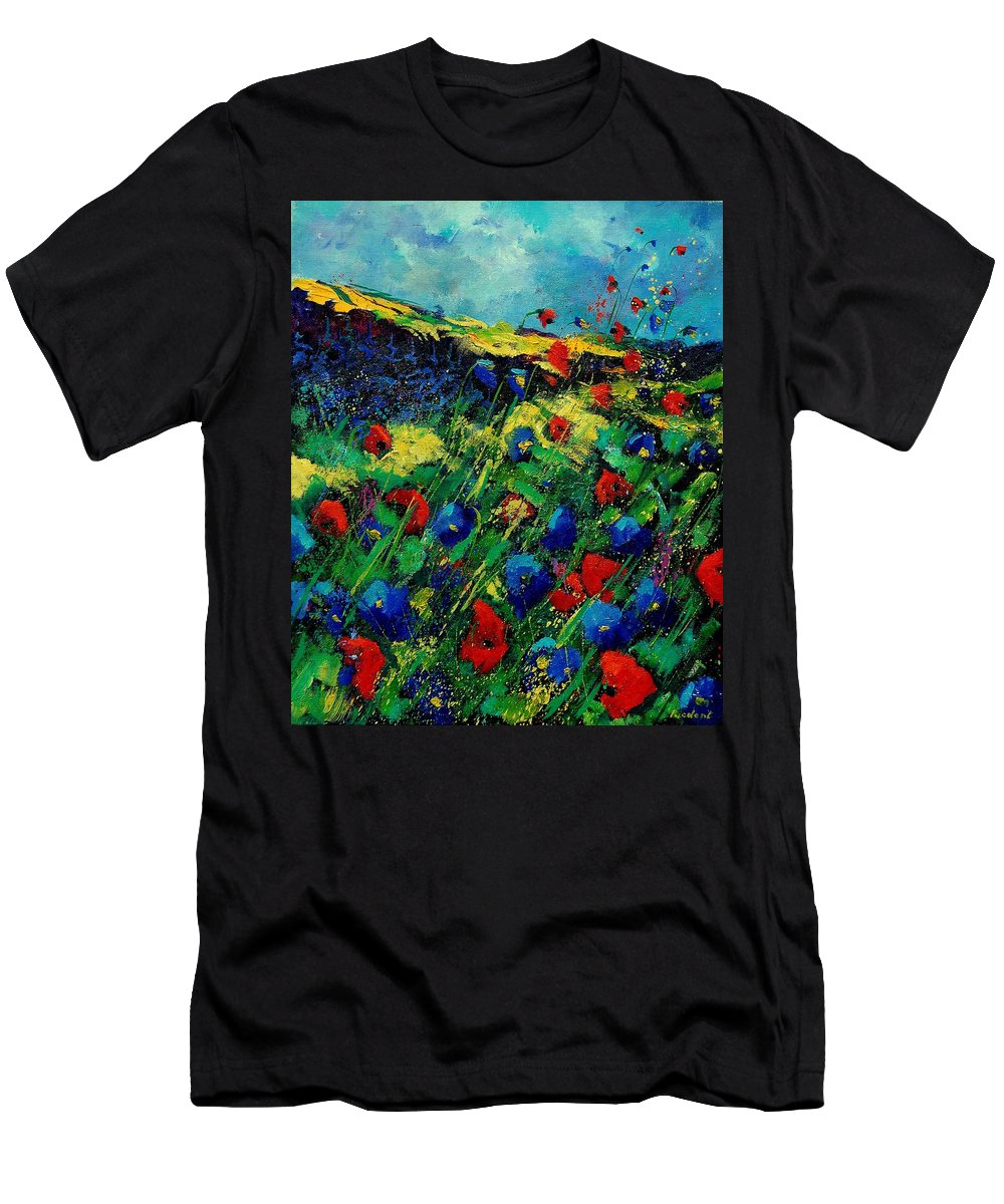 Flowers Men's T-Shirt (Athletic Fit) featuring the painting Red And Blue Poppies 56 by Pol Ledent