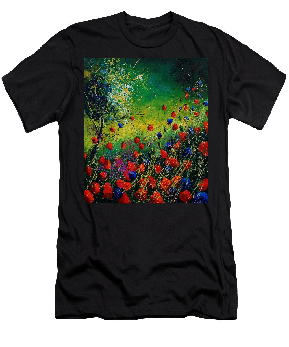 Flowers Men's T-Shirt (Athletic Fit) featuring the painting Red And Blue Poppies 67 1524 by Pol Ledent