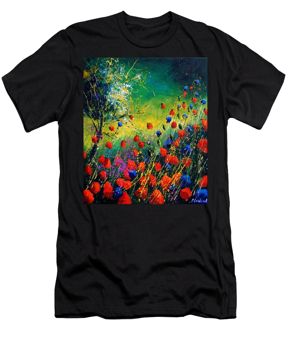 Flowers Men's T-Shirt (Athletic Fit) featuring the painting Red And Blue Poppies by Pol Ledent