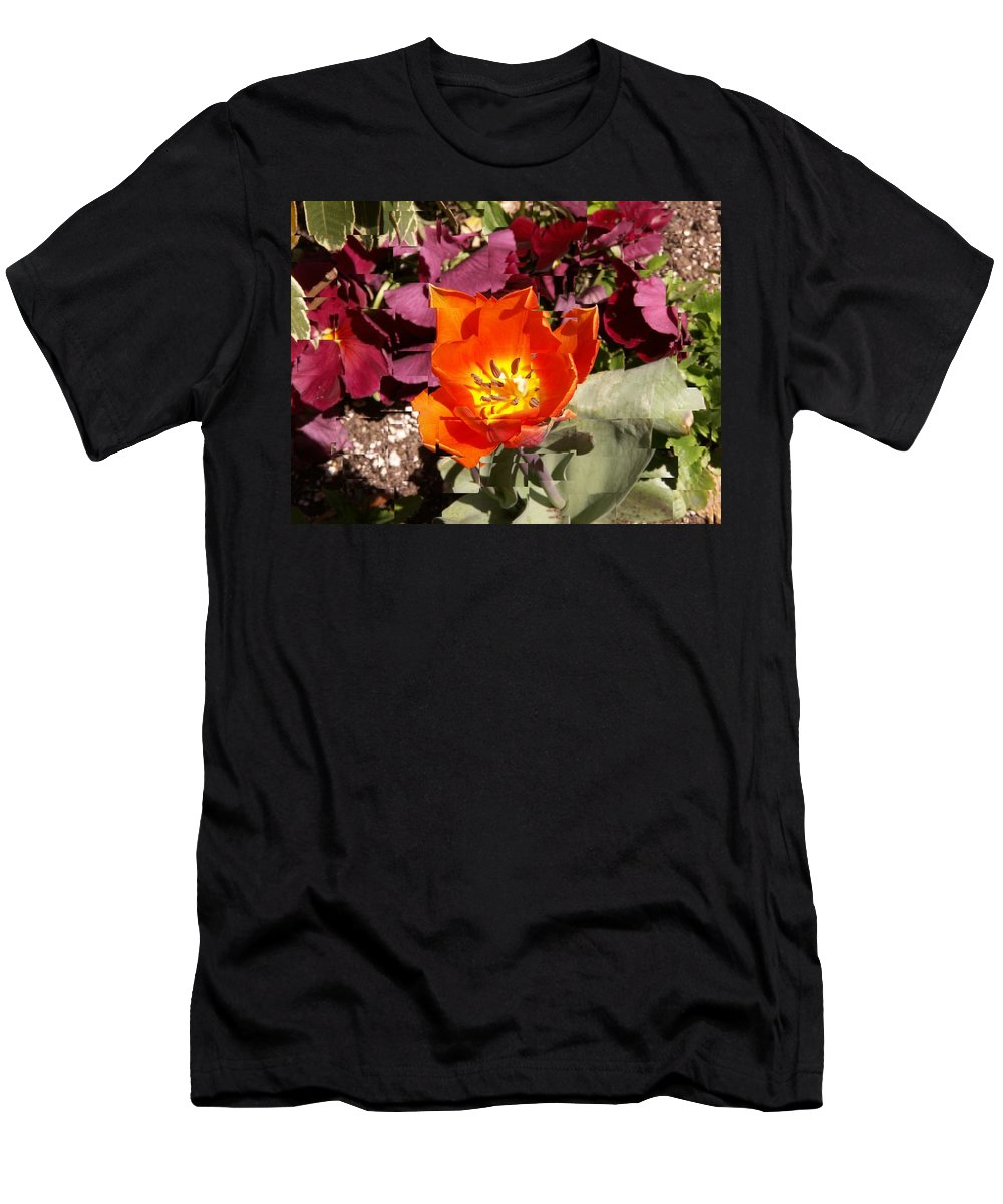 Flower Men's T-Shirt (Athletic Fit) featuring the digital art Red And Yellow Flower by Tim Allen