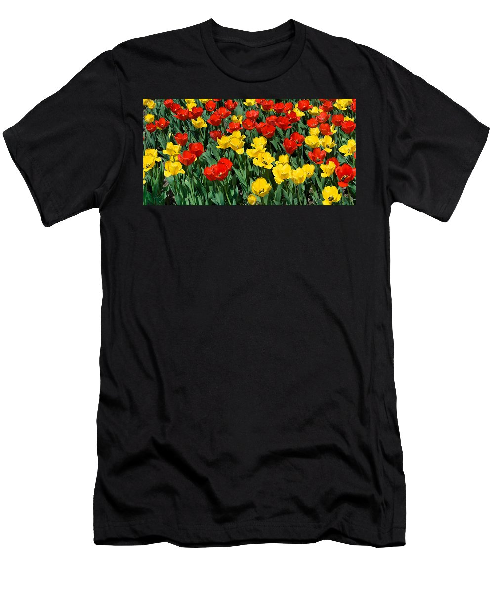 Red Men's T-Shirt (Athletic Fit) featuring the photograph Red And Yellow Tulips Naperville Illinois by Michael Bessler