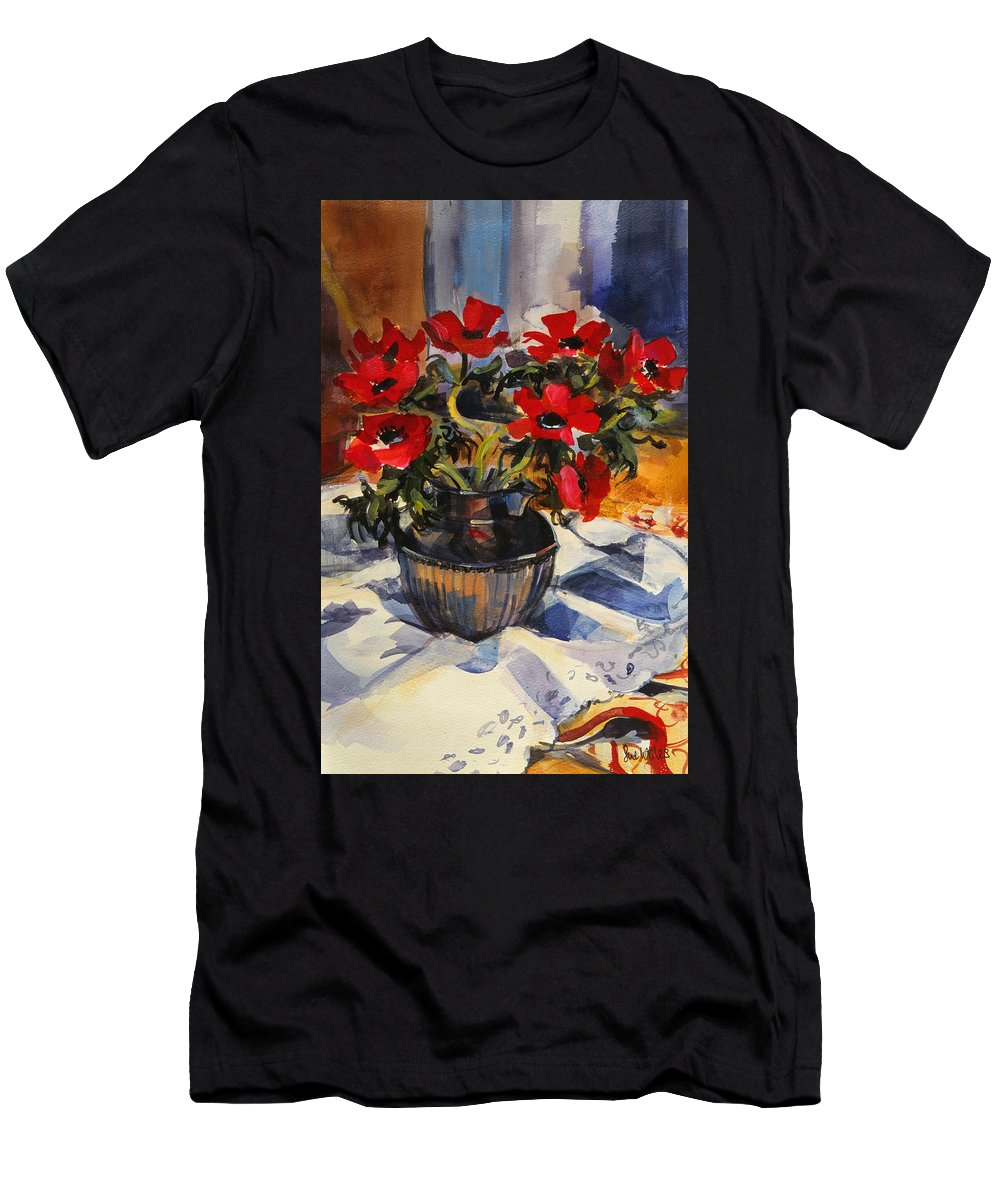 Flower Men's T-Shirt (Athletic Fit) featuring the painting Red Anemones by Sue Wales