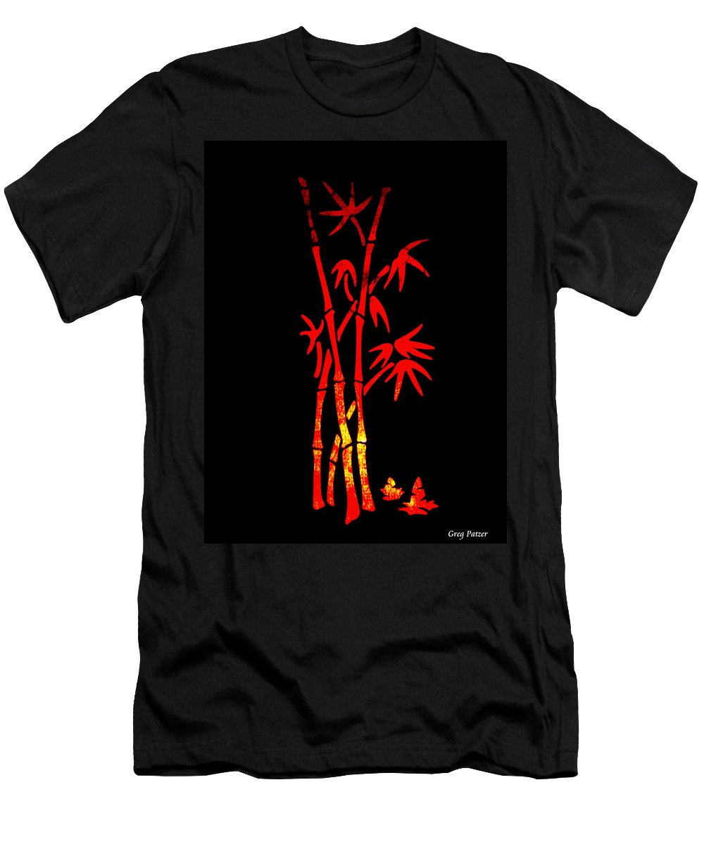 Patzer Men's T-Shirt (Athletic Fit) featuring the photograph Red Bamboo by Greg Patzer