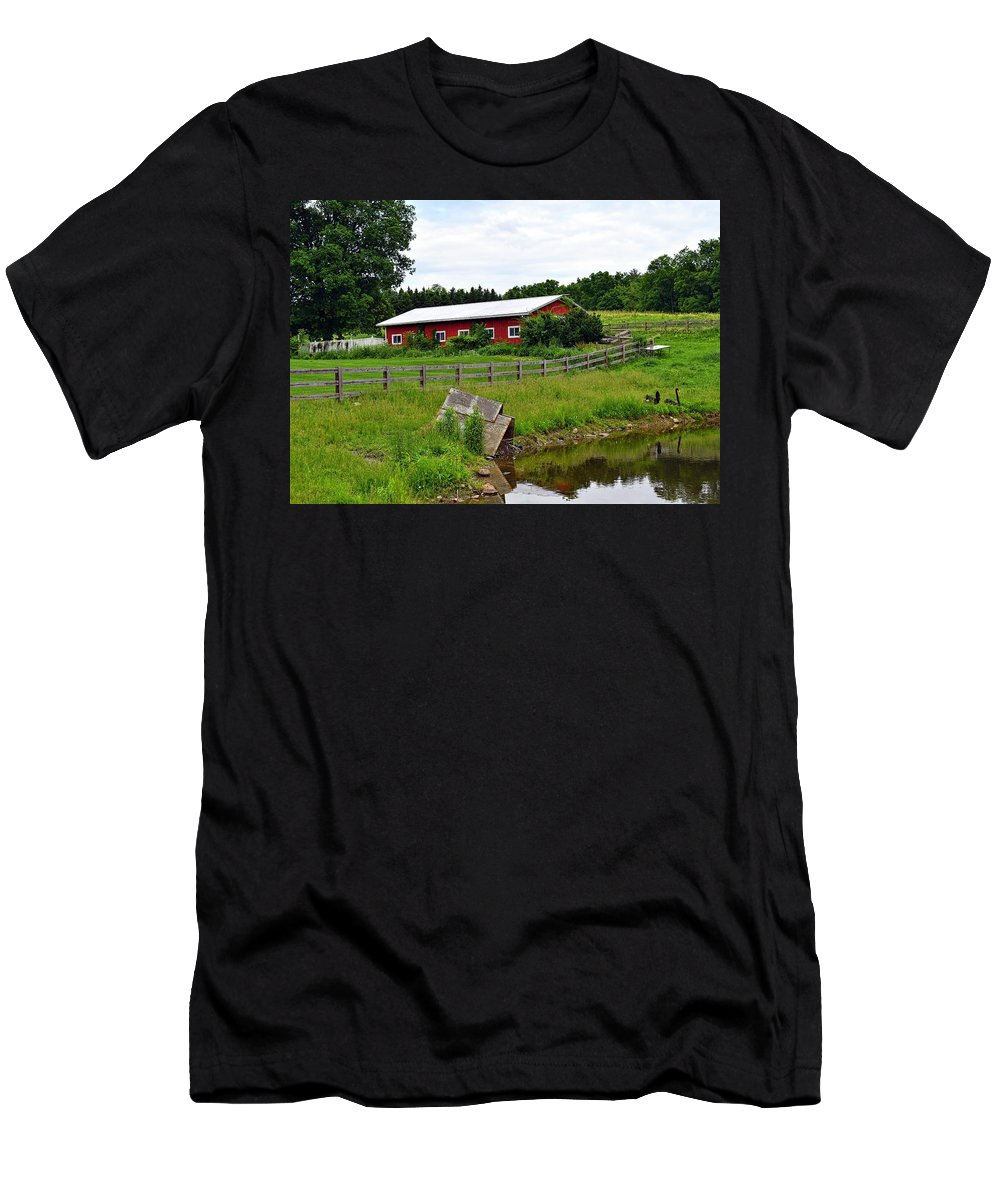 Red Barn Men's T-Shirt (Athletic Fit) featuring the photograph Red Barn By The Lake by Jean C Rosario