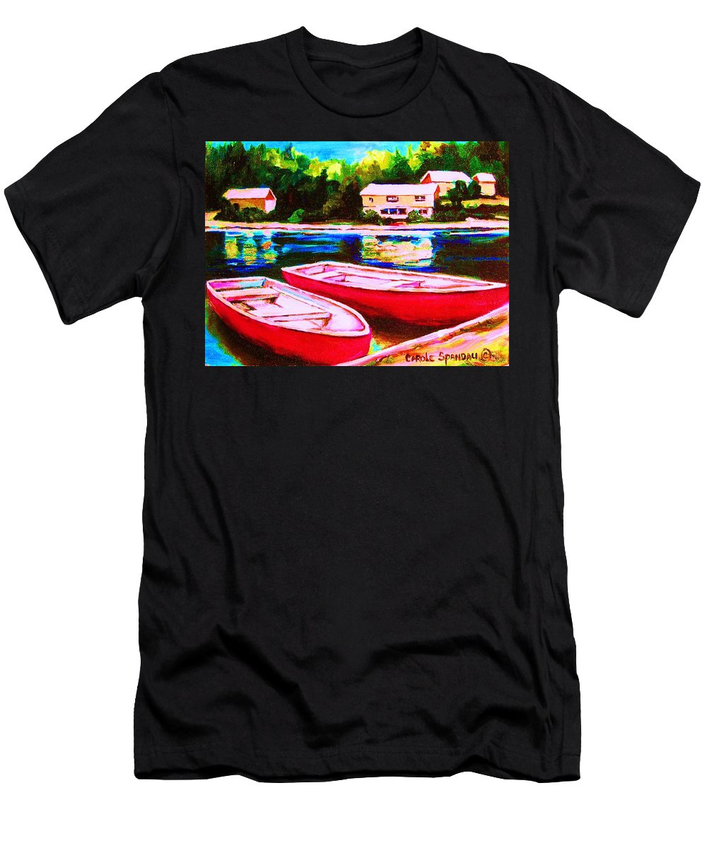 Red Boats Men's T-Shirt (Athletic Fit) featuring the painting Red Boats At The Lake by Carole Spandau