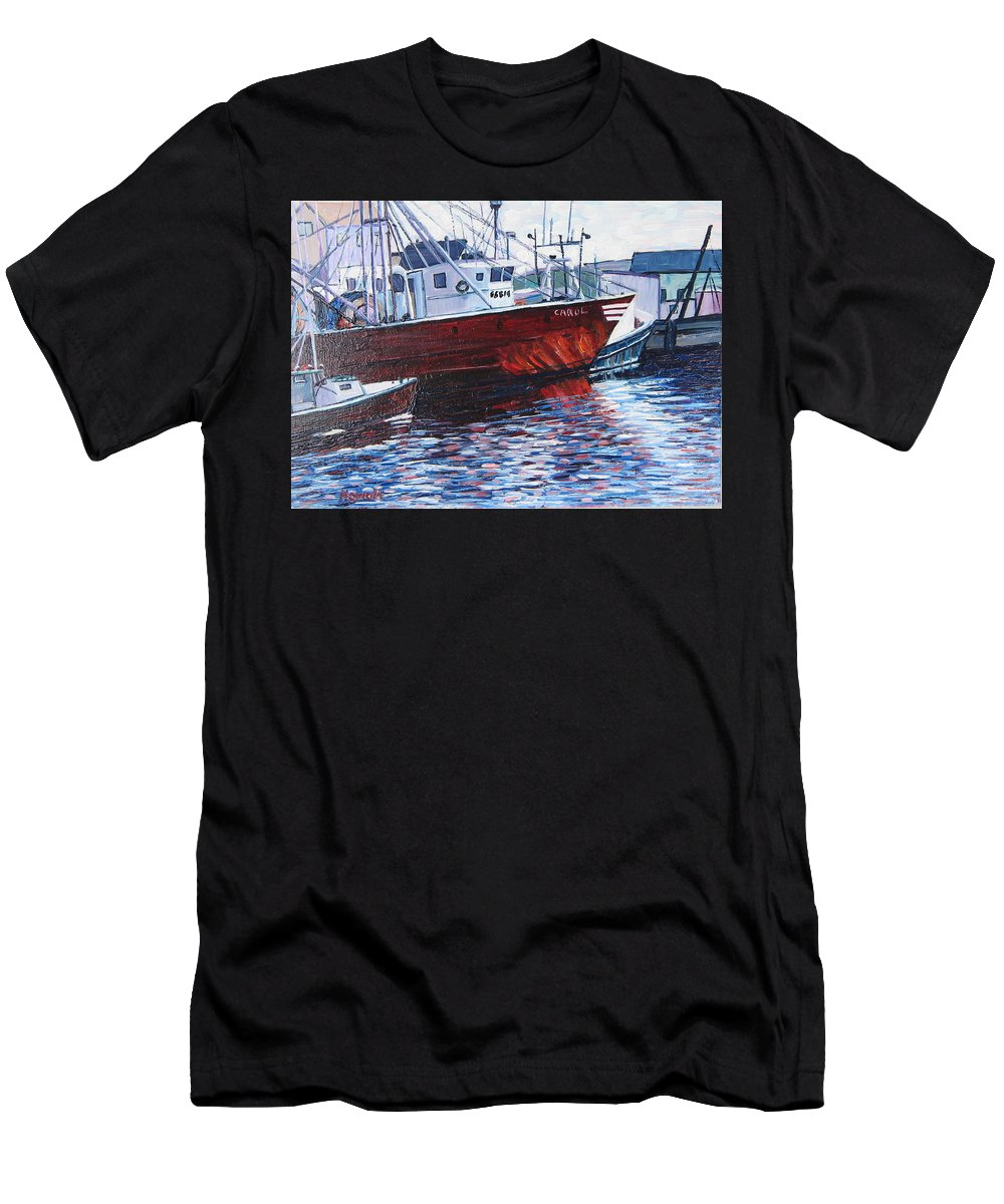 Boats Men's T-Shirt (Athletic Fit) featuring the painting Red Boats by Richard Nowak