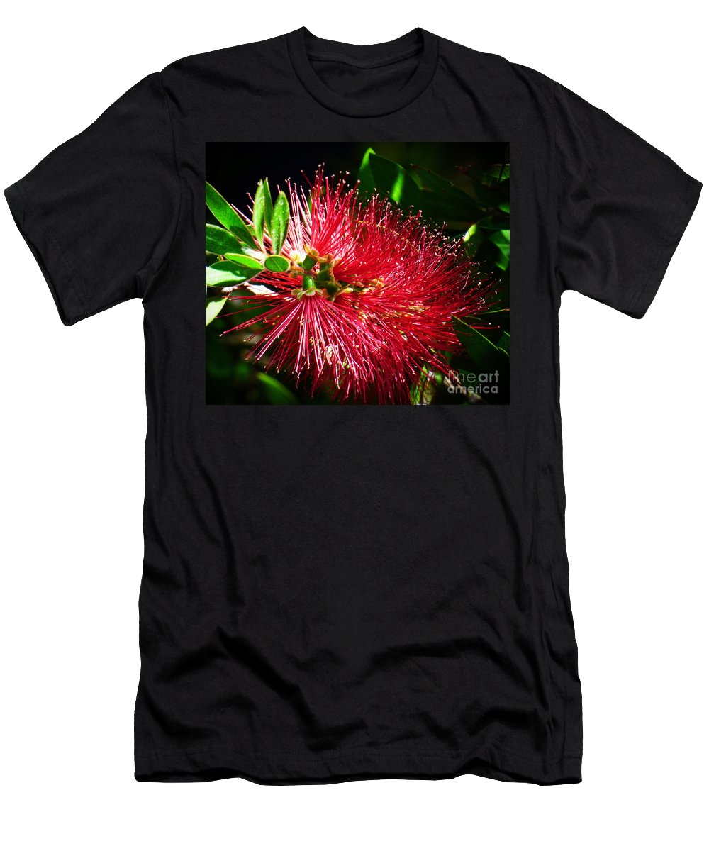 Bottle Brush Men's T-Shirt (Athletic Fit) featuring the photograph Red Bottle Brush by Trudee Hunter