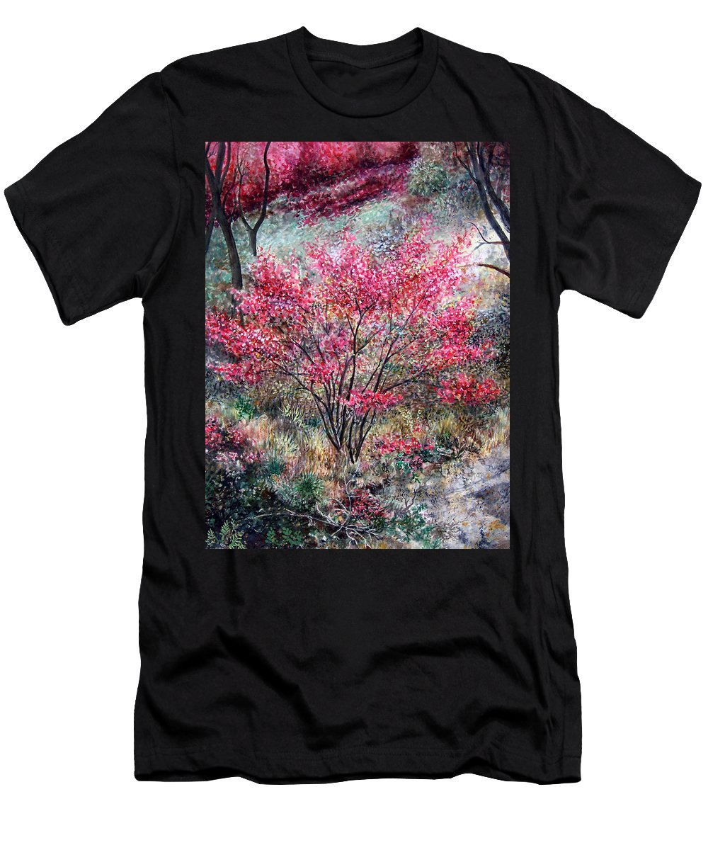 Landscape Men's T-Shirt (Athletic Fit) featuring the painting Red Bush by Valerie Meotti