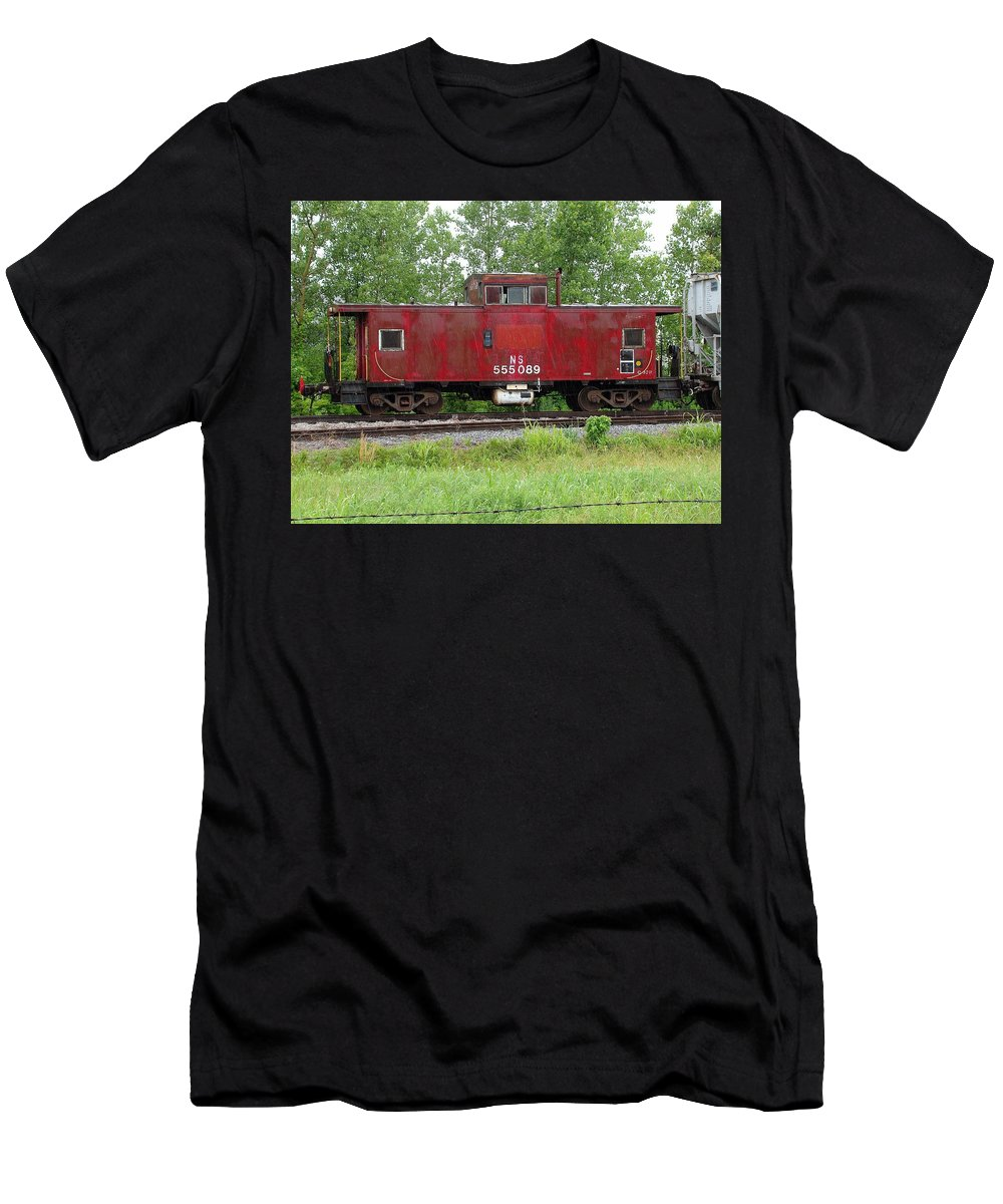 Train Men's T-Shirt (Athletic Fit) featuring the photograph Red Caboose In The Rain by J R Seymour