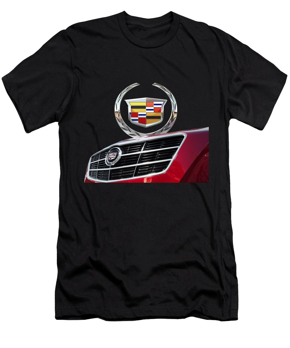 'auto Badges' By Serge Averbukh Men's T-Shirt (Slim Fit) featuring the photograph Red Cadillac C T S - Front Grill Ornament And 3d Badge On Black by Serge Averbukh