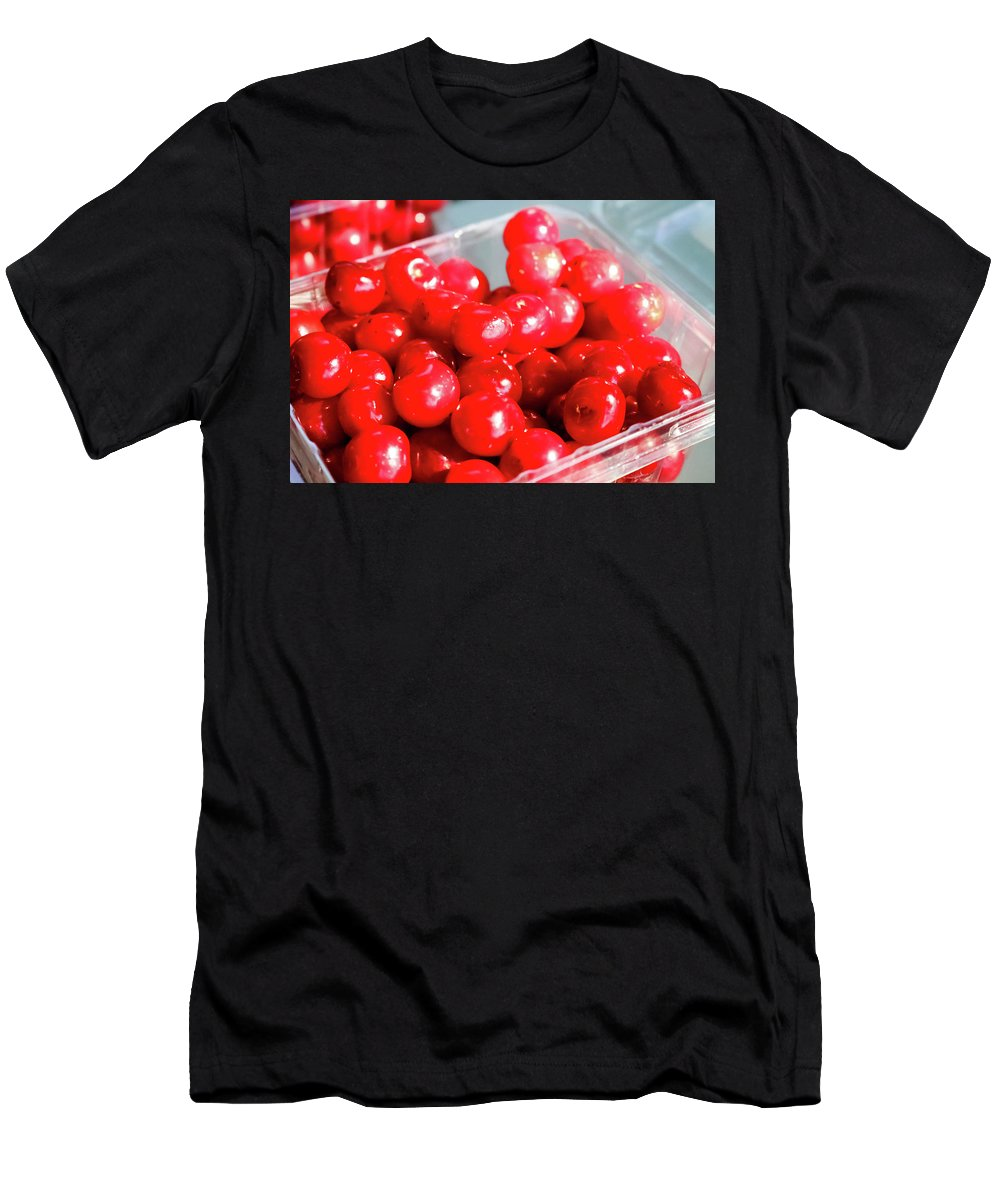 Red Cherries Men's T-Shirt (Athletic Fit) featuring the photograph Red Cherries by Cynthia Woods