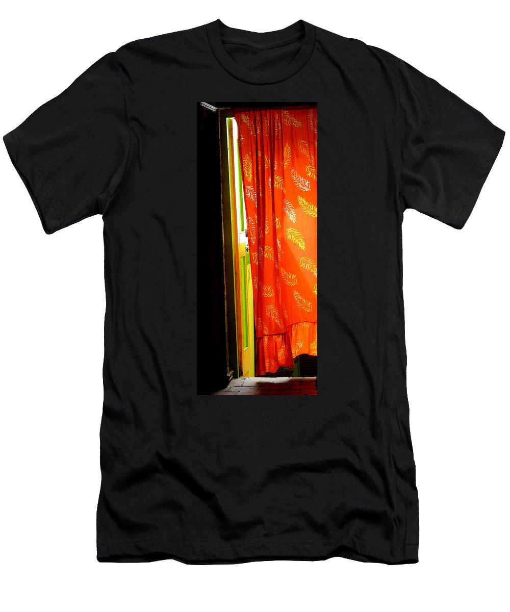 Red Men's T-Shirt (Athletic Fit) featuring the photograph Red Curtain In The Doorway by Ian MacDonald