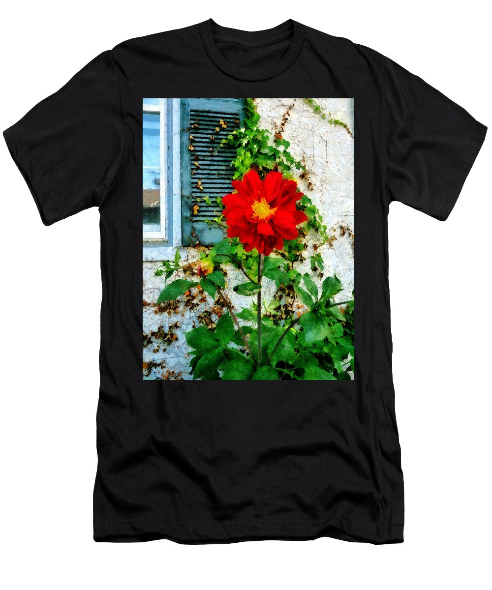 Garden Men's T-Shirt (Athletic Fit) featuring the photograph Red Dahlia By Window by Susan Savad