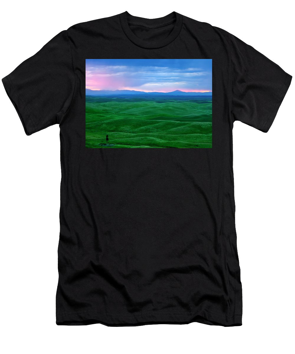 Palouse Men's T-Shirt (Athletic Fit) featuring the photograph Red Dawn Over The Palouse by Mike Dawson