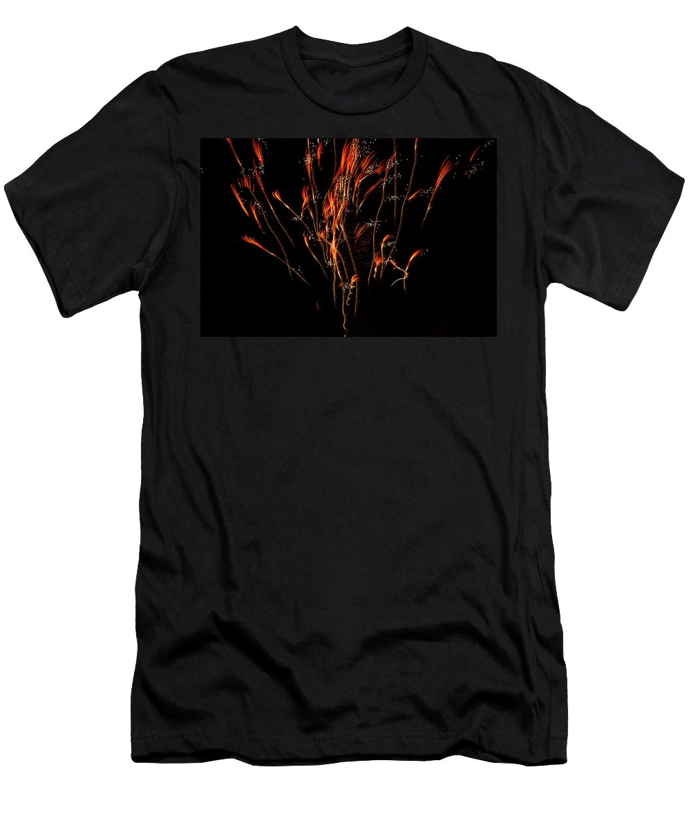 Fireworks Men's T-Shirt (Athletic Fit) featuring the photograph Red Explosion by Donna Collins