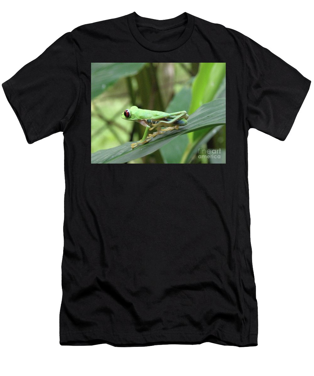 Frog Men's T-Shirt (Athletic Fit) featuring the photograph Red Eyed Tree Frog On A Leaf by DejaVu Designs