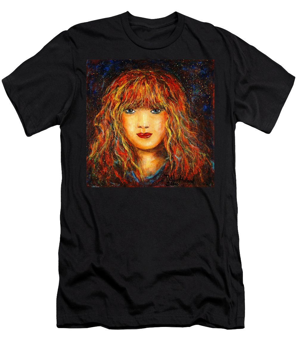 Girl Men's T-Shirt (Athletic Fit) featuring the painting Red Flame by Natalie Holland