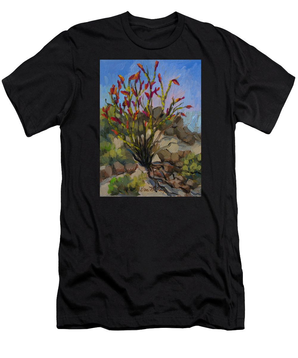 Ocotillo T-Shirt featuring the painting Red Flame Ocotillo 5 by Diane McClary