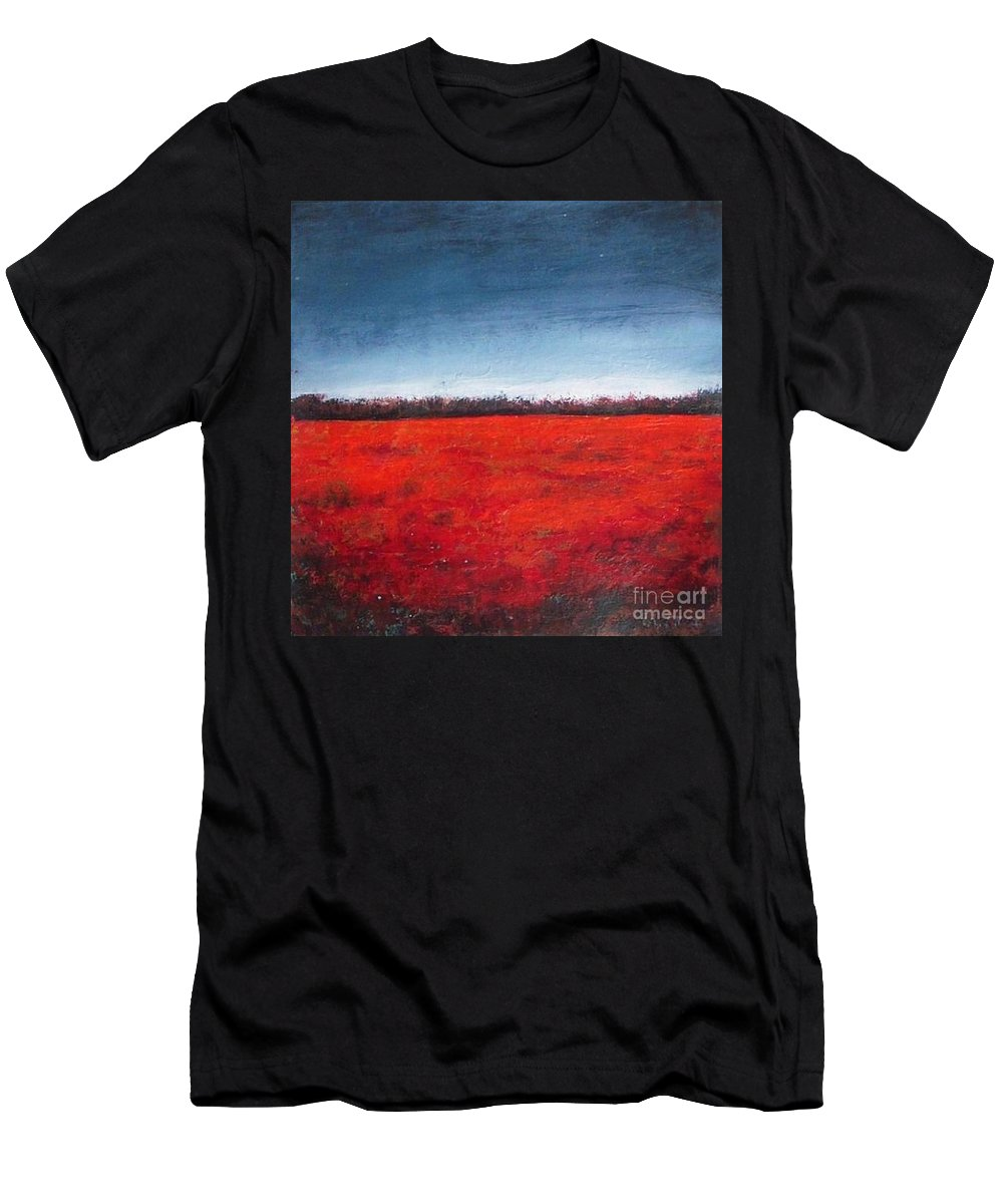 Poppy Field Men's T-Shirt (Athletic Fit) featuring the painting Red Flowering - Poppies by Vesna Antic