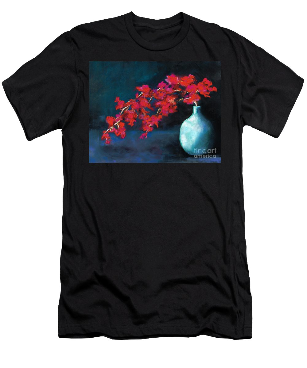 Flowers Men's T-Shirt (Athletic Fit) featuring the painting Red Flowers by Frances Marino