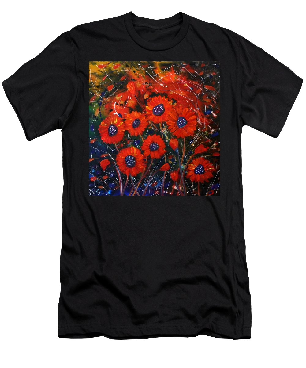 Flowers Men's T-Shirt (Athletic Fit) featuring the painting Red Flowers In The Night by Luiza Vizoli