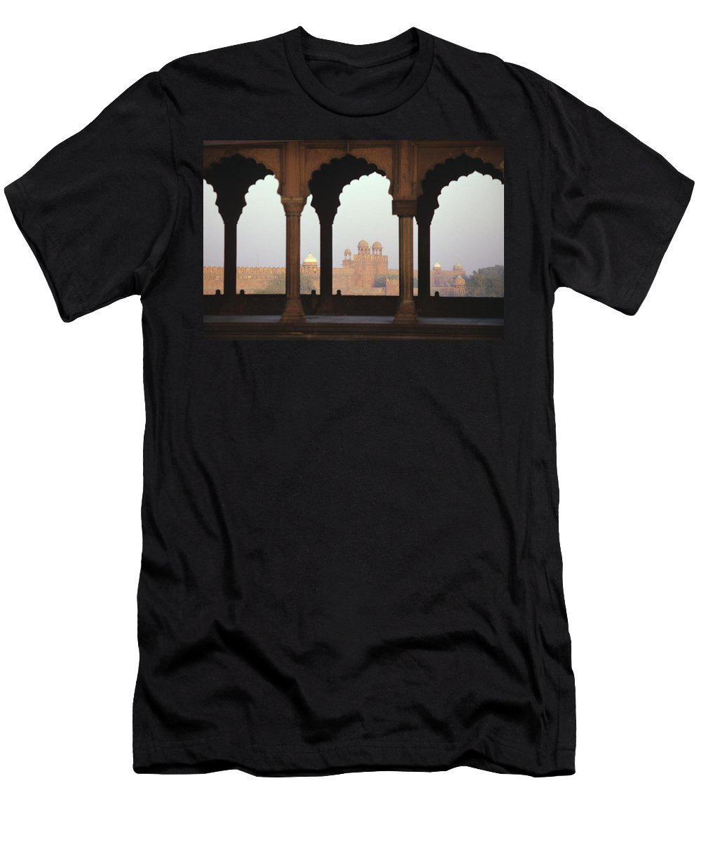 Agra Men's T-Shirt (Athletic Fit) featuring the photograph Red Fort From The Jama Masjid by Gloria and Richard Maschmeyer - Printscapes