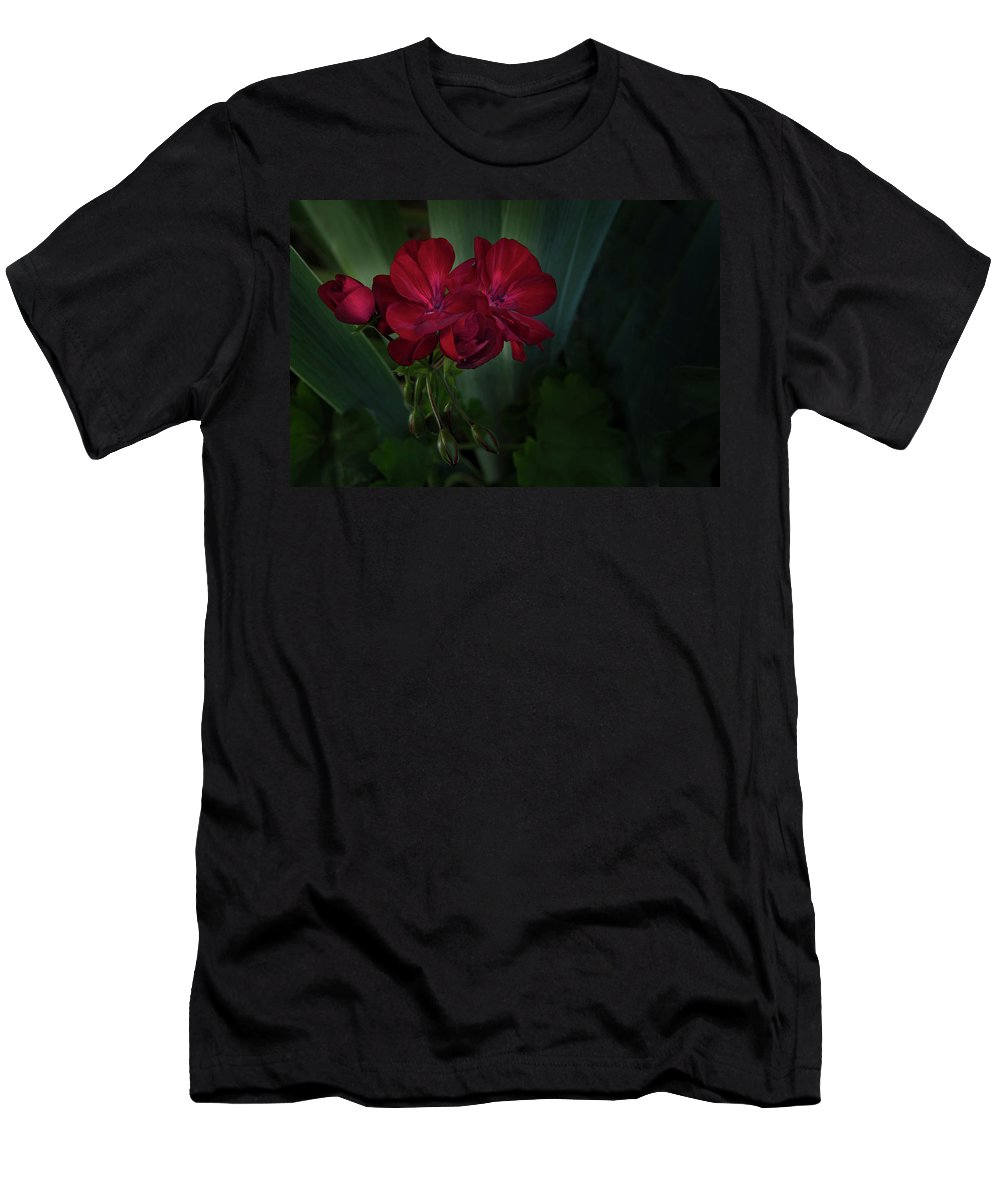 Geranium Men's T-Shirt (Athletic Fit) featuring the photograph Red Geranium by K Powers Photography