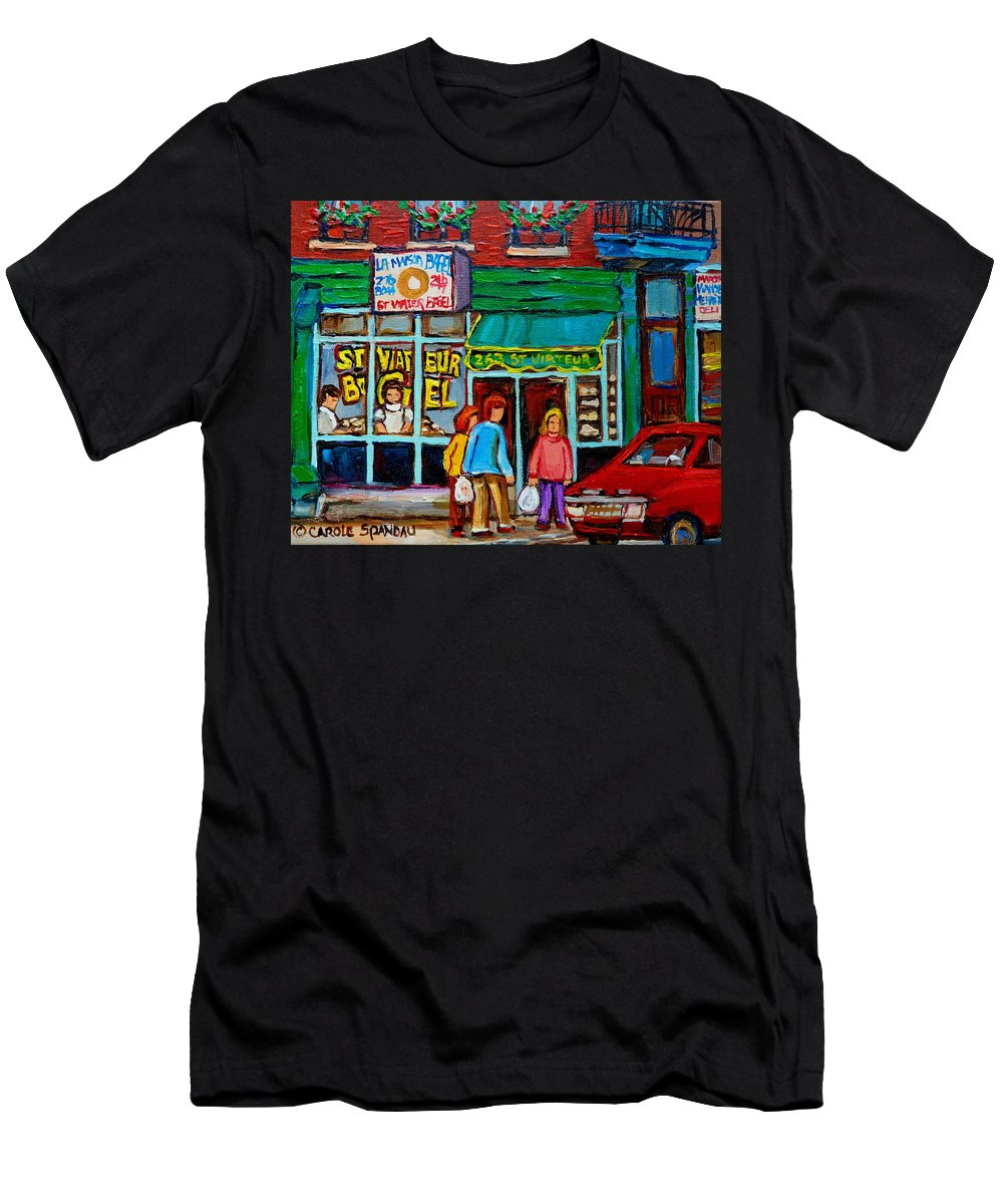 St Men's T-Shirt (Athletic Fit) featuring the painting Red Geraniums And Bagels by Carole Spandau