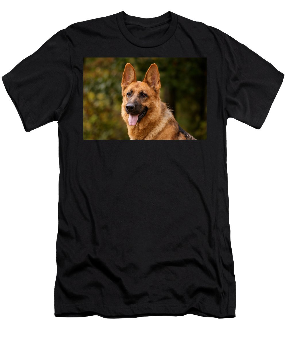 German Shepherd Men's T-Shirt (Athletic Fit) featuring the photograph Red German Shepherd Dog by Sandy Keeton