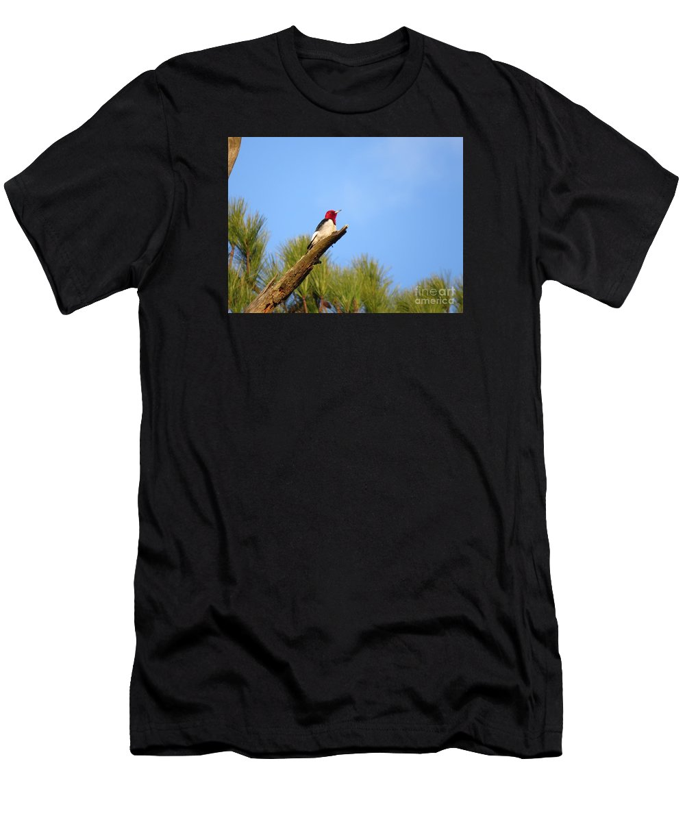 Birds Men's T-Shirt (Athletic Fit) featuring the photograph Red-headed Woodpecker by Charles Green